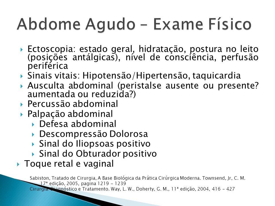 Ectoscopia: estado geral, hidratação, postura no leito (posições antálgicas), nível de consciência, perfusão periférica Sinais vitais: Hipotensão/Hipe