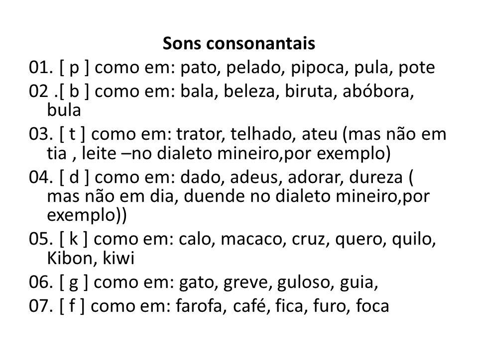 Sons consonantais 01. [ p ] como em: pato, pelado, pipoca, pula, pote 02.[ b ] como em: bala, beleza, biruta, abóbora, bula 03. [ t ] como em: trator,