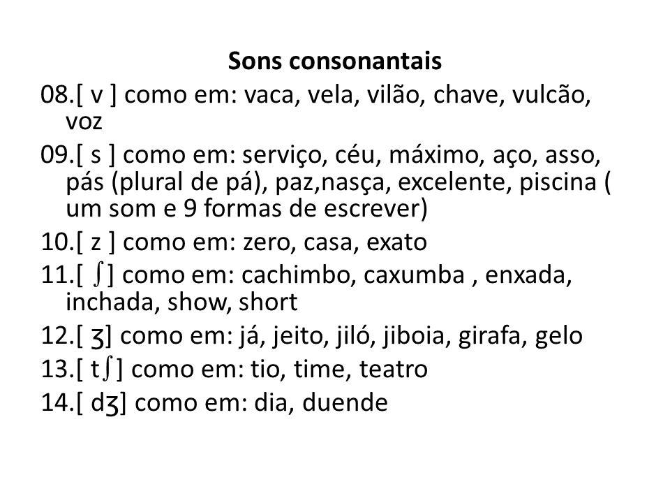 Sons consonantais 08.[ v ] como em: vaca, vela, vilão, chave, vulcão, voz 09.[ s ] como em: serviço, céu, máximo, aço, asso, pás (plural de pá), paz,n