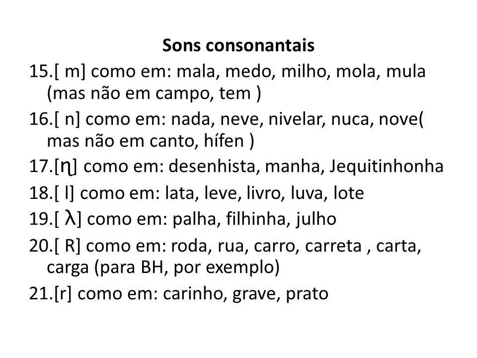 Sons consonantais 15.[ m] como em: mala, medo, milho, mola, mula (mas não em campo, tem ) 16.[ n] como em: nada, neve, nivelar, nuca, nove( mas não em