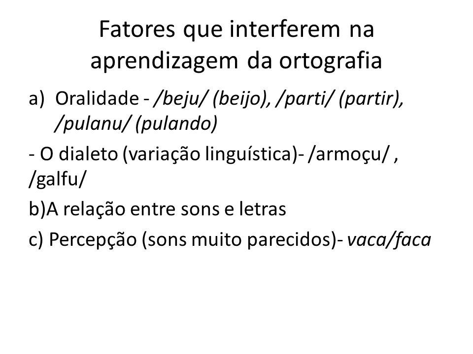 Fatores que interferem na aprendizagem da ortografia a)Oralidade - /beju/ (beijo), /parti/ (partir), /pulanu/ (pulando) - O dialeto (variação linguíst