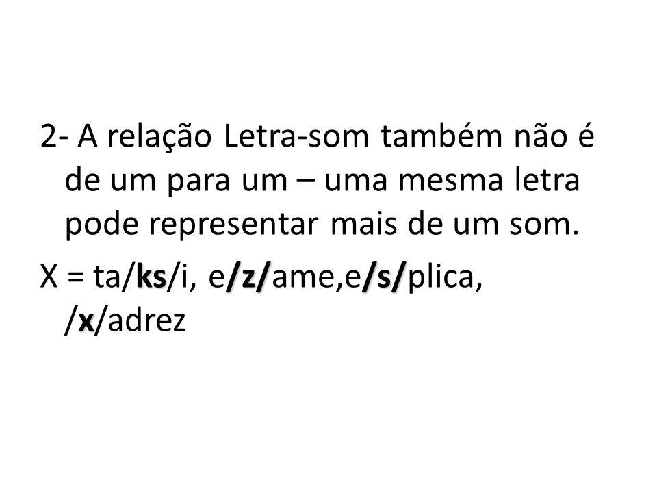 2- A relação Letra-som também não é de um para um – uma mesma letra pode representar mais de um som. ks/z//s/ x X = ta/ks/i, e/z/ame,e/s/plica, /x/adr