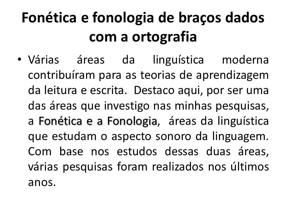 Fonética e fonologia de braços dados com a ortografia Fonética e a Fonologia Várias áreas da linguística moderna contribuíram para as teorias de apren