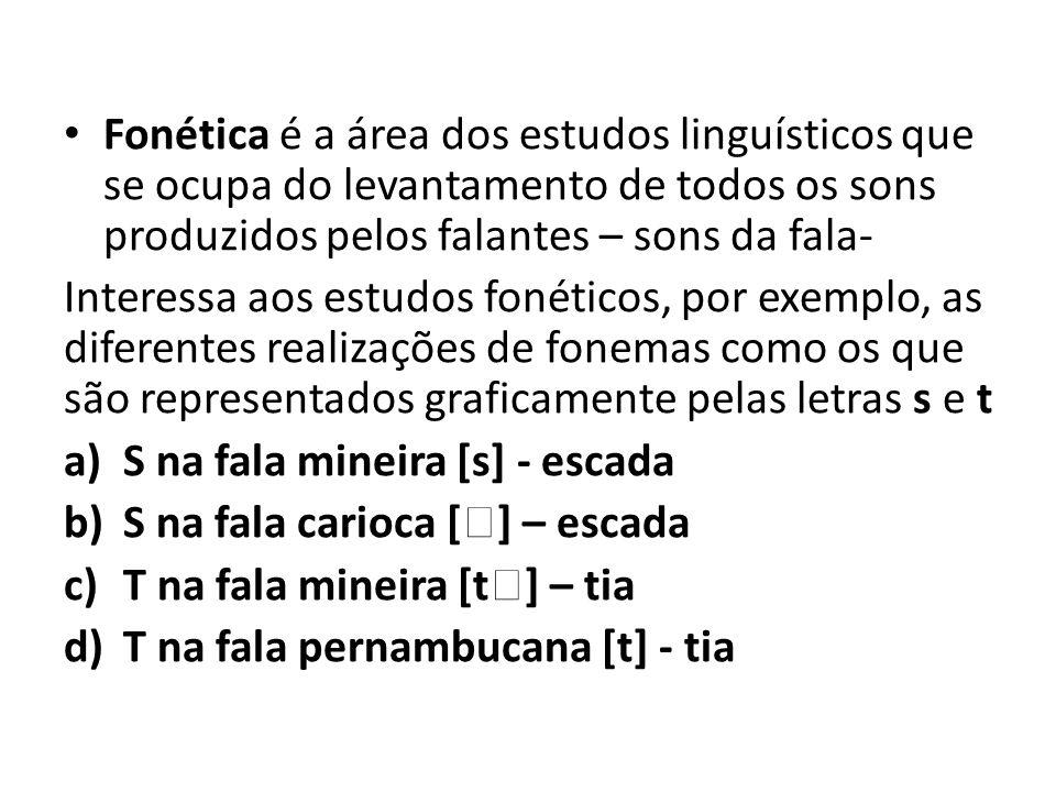 Fonética é a área dos estudos linguísticos que se ocupa do levantamento de todos os sons produzidos pelos falantes – sons da fala- Interessa aos estud