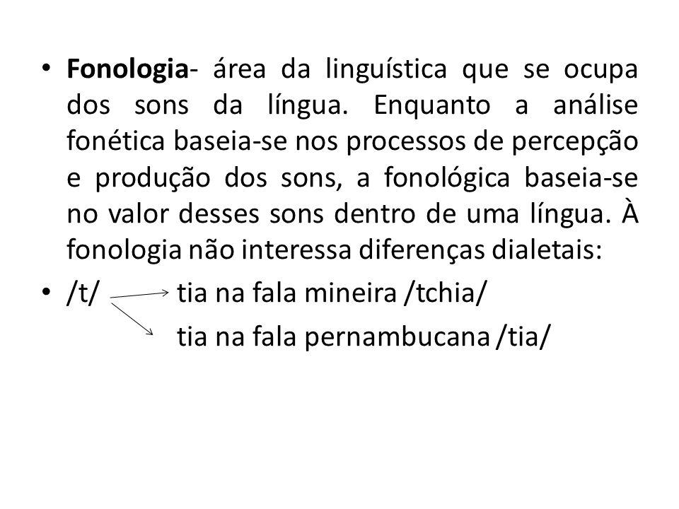 Fonologia- área da linguística que se ocupa dos sons da língua. Enquanto a análise fonética baseia-se nos processos de percepção e produção dos sons,