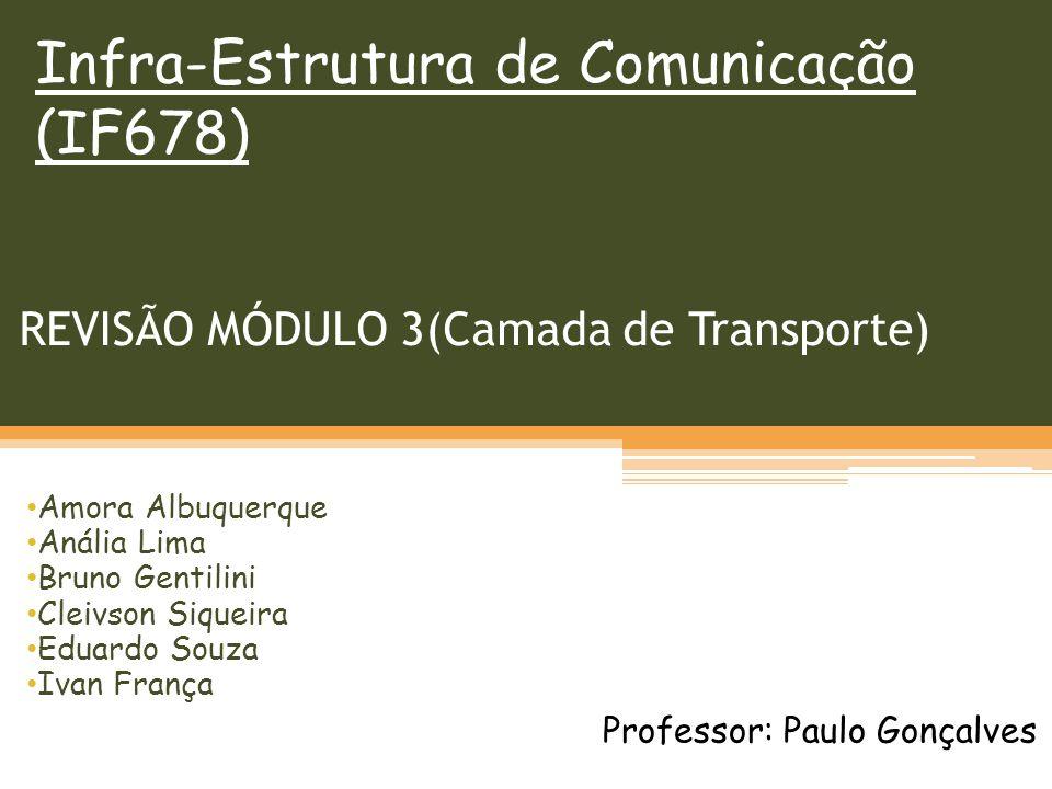 REVISÃO MÓDULO 3(Camada de Transporte) Amora Albuquerque Anália Lima Bruno Gentilini Cleivson Siqueira Eduardo Souza Ivan França Infra-Estrutura de Comunicação (IF678) Professor: Paulo Gonçalves