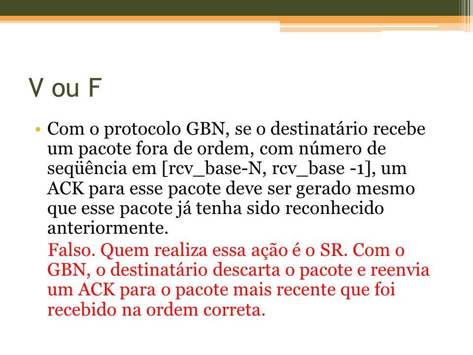 V ou F Com o protocolo GBN, se o destinatário recebe um pacote fora de ordem, com número de seqüência em [rcv_base-N, rcv_base -1], um ACK para esse p