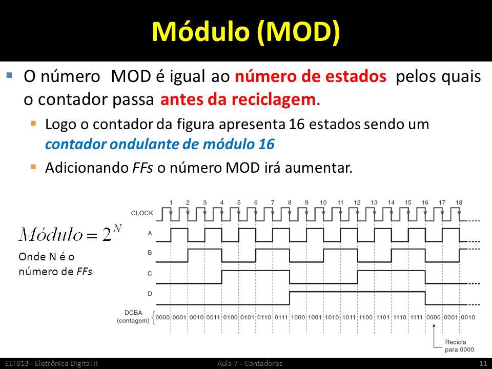 Módulo (MOD) O número MOD é igual ao número de estados pelos quais o contador passa antes da reciclagem. Logo o contador da figura apresenta 16 estado