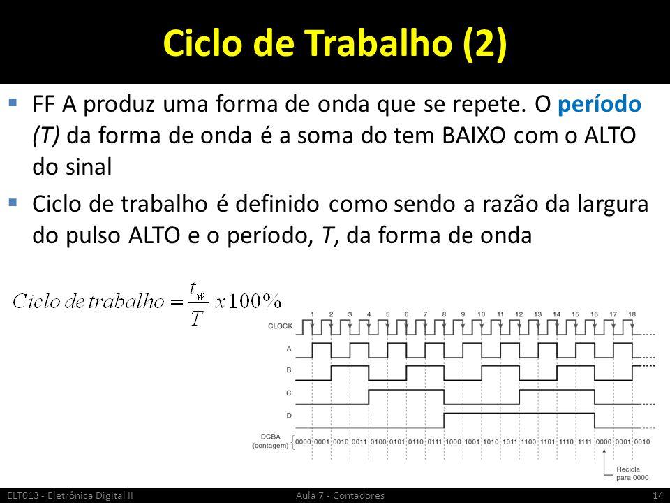 Ciclo de Trabalho (2) FF A produz uma forma de onda que se repete. O período (T) da forma de onda é a soma do tem BAIXO com o ALTO do sinal Ciclo de t