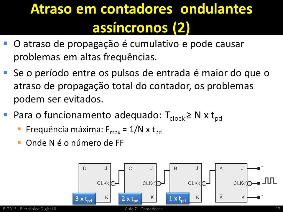 Atraso em contadores ondulantes assíncronos (2) O atraso de propagação é cumulativo e pode causar problemas em altas frequências. Se o período entre o
