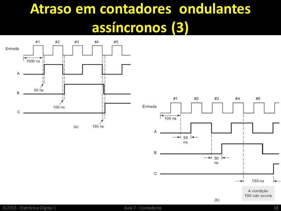 Atraso em contadores ondulantes assíncronos (3) ELT013 - Eletrônica Digital II Aula 7 - Contadores18