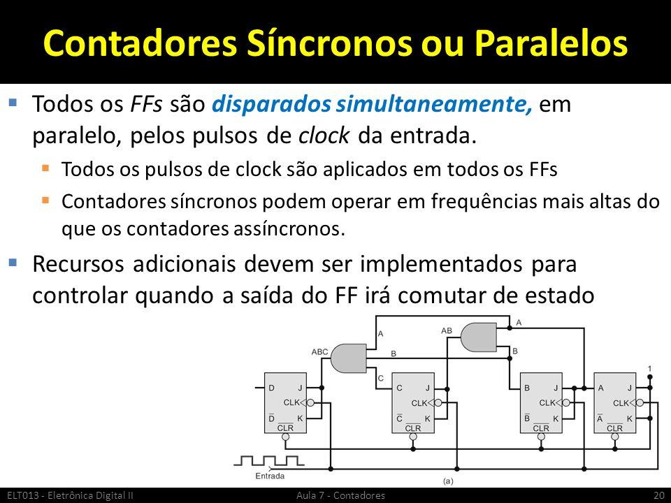 Contadores Síncronos ou Paralelos Todos os FFs são disparados simultaneamente, em paralelo, pelos pulsos de clock da entrada. Todos os pulsos de clock