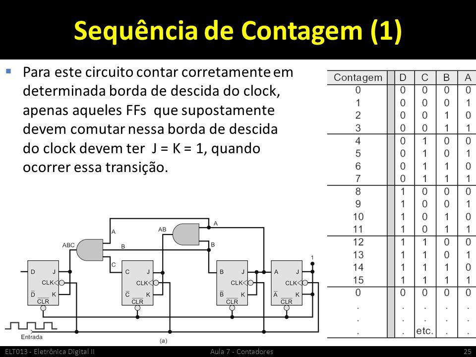 Sequência de Contagem (1) Para este circuito contar corretamente em determinada borda de descida do clock, apenas aqueles FFs que supostamente devem c