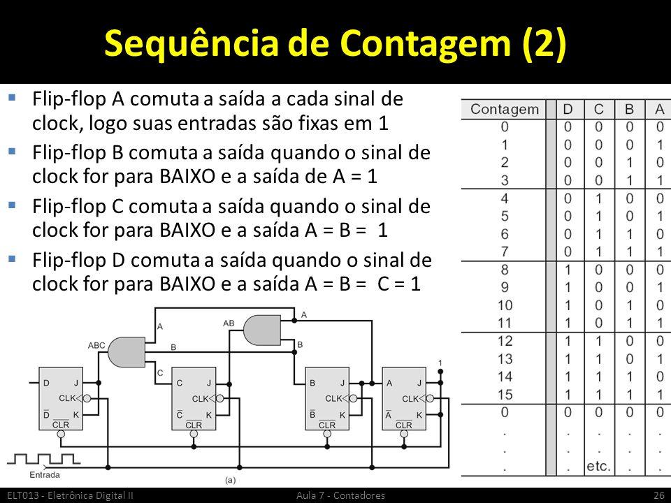 Sequência de Contagem (2) Flip-flop A comuta a saída a cada sinal de clock, logo suas entradas são fixas em 1 Flip-flop B comuta a saída quando o sina