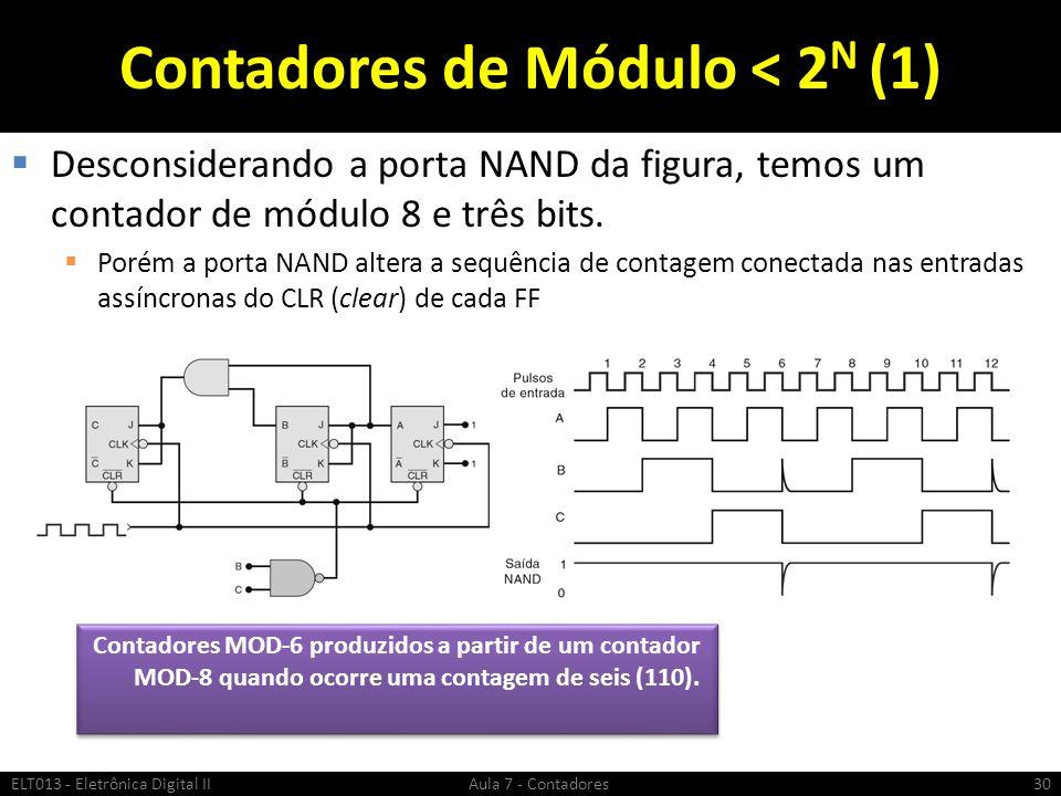 Contadores de Módulo < 2 N (1) Desconsiderando a porta NAND da figura, temos um contador de módulo 8 e três bits. Porém a porta NAND altera a sequênci