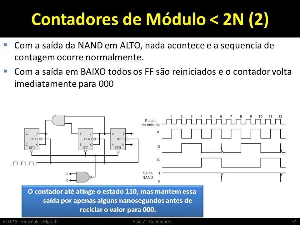 Contadores de Módulo < 2N (2) Com a saída da NAND em ALTO, nada acontece e a sequencia de contagem ocorre normalmente. Com a saída em BAIXO todos os F