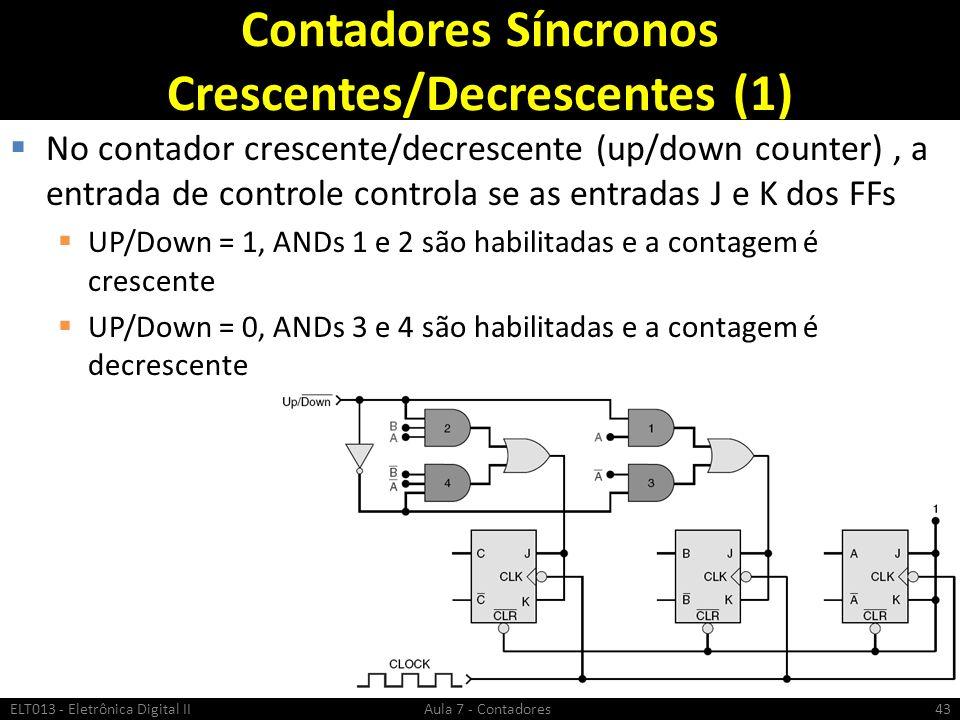 Contadores Síncronos Crescentes/Decrescentes (1) No contador crescente/decrescente (up/down counter), a entrada de controle controla se as entradas J