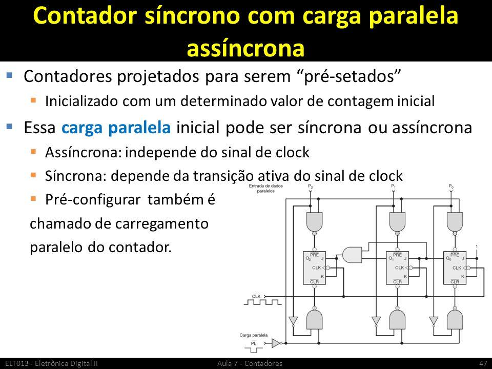 Contador síncrono com carga paralela assíncrona Contadores projetados para serem pré-setados Inicializado com um determinado valor de contagem inicial