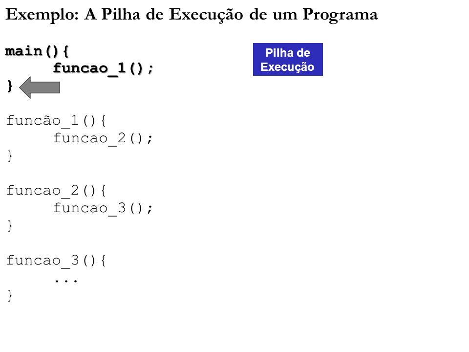 Exemplo: A Pilha de Execução de um Programamain(){funcao_1(); } funcão_1(){ funcao_2(); } funcao_2(){ funcao_3(); } funcao_3(){... } Pilha de Execução