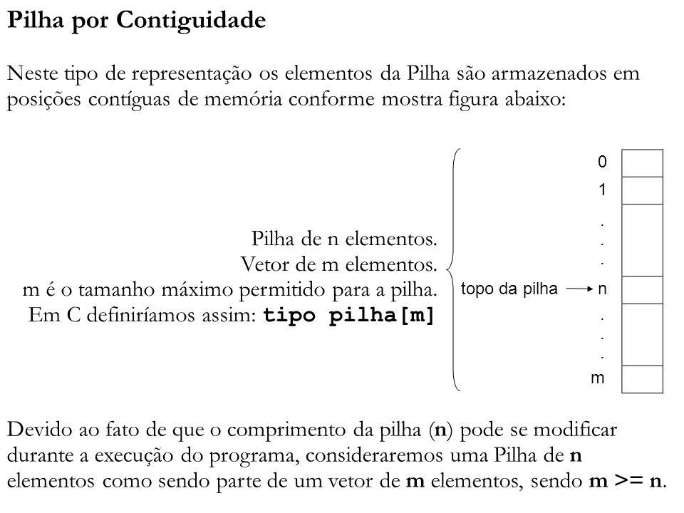 Pilha por Contiguidade Neste tipo de representação os elementos da Pilha são armazenados em posições contíguas de memória conforme mostra figura abaix