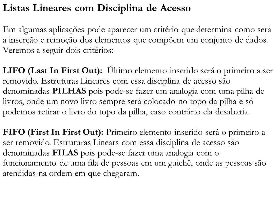 Listas Lineares com Disciplina de Acesso Em algumas aplicações pode aparecer um critério que determina como será a inserção e remoção dos elementos qu
