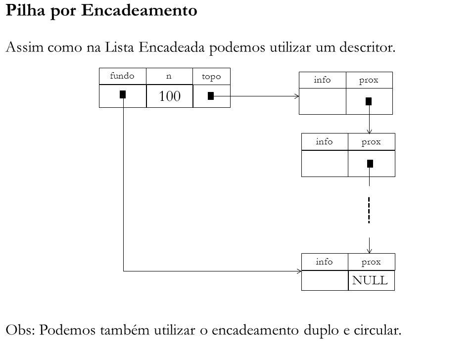 Pilha por Encadeamento Assim como na Lista Encadeada podemos utilizar um descritor. Obs: Podemos também utilizar o encadeamento duplo e circular. topo