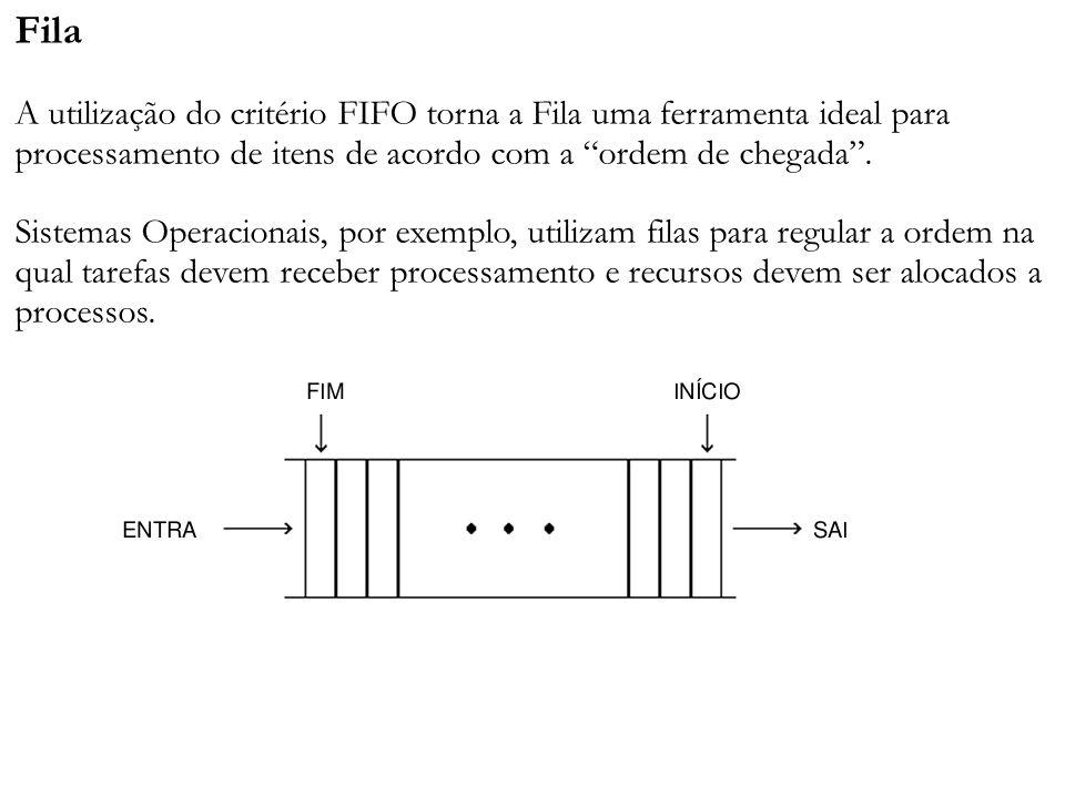 Fila A utilização do critério FIFO torna a Fila uma ferramenta ideal para processamento de itens de acordo com a ordem de chegada. Sistemas Operaciona