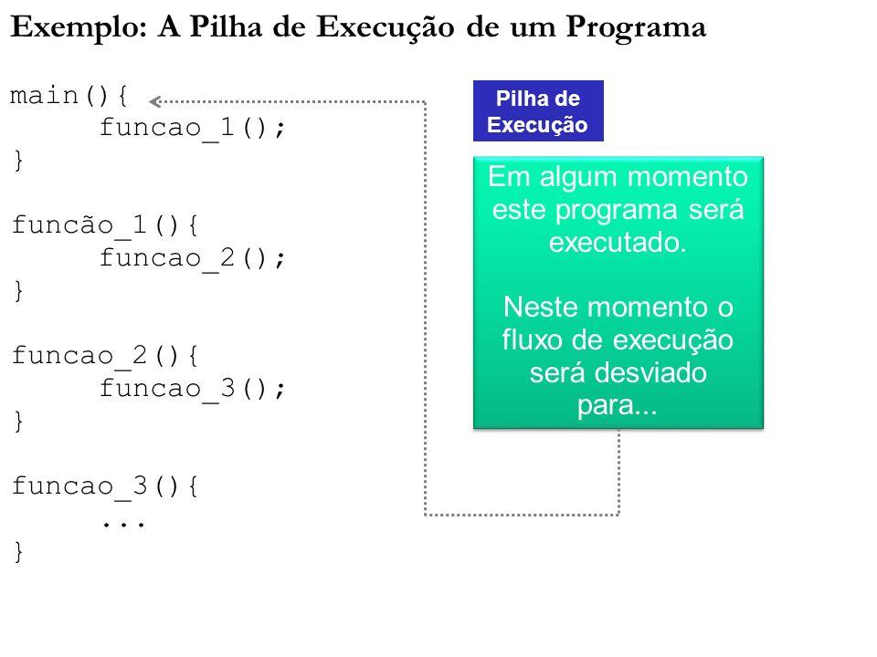 Exemplo: A Pilha de Execução de um Programa main(){ funcao_1(); } funcão_1(){ funcao_2(); } funcao_2(){ funcao_3(); } funcao_3(){... } Pilha de Execuç
