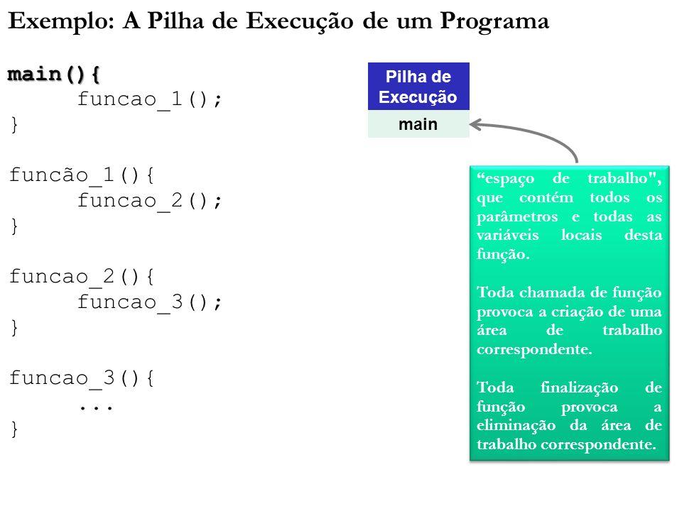 Exemplo: A Pilha de Execução de um Programamain(){ funcao_1(); } funcão_1(){ funcao_2(); } funcao_2(){ funcao_3(); } funcao_3(){... } Pilha de Execuçã