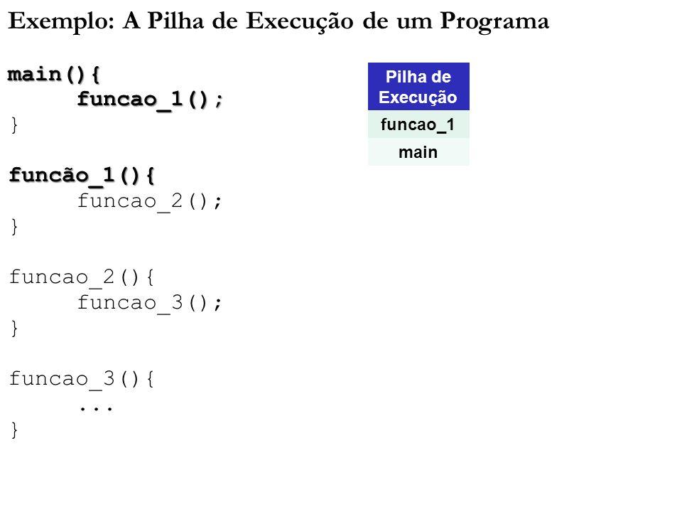 Exemplo: A Pilha de Execução de um Programamain(){funcao_1(); }funcão_1(){ funcao_2(); } funcao_2(){ funcao_3(); } funcao_3(){... } Pilha de Execução
