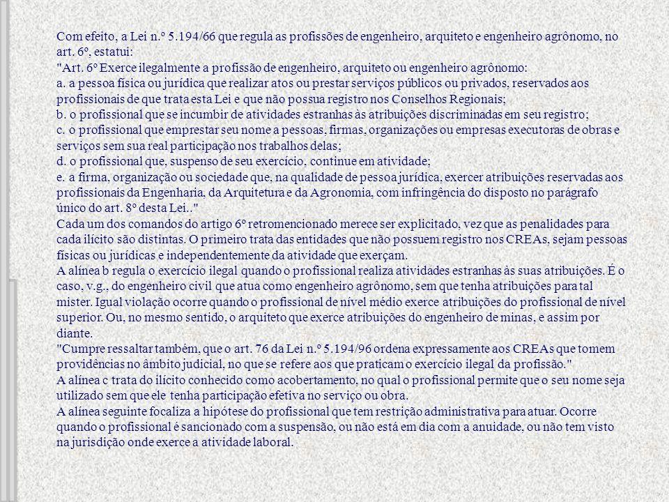 Com efeito, a Lei n.º 5.194/66 que regula as profissões de engenheiro, arquiteto e engenheiro agrônomo, no art. 6º, estatui:
