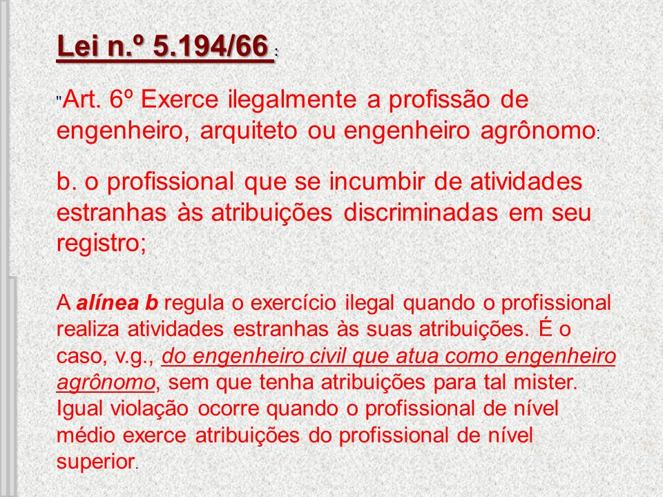 Lei n.º 5.194/66 Lei n.º 5.194/66 : Lei n.º 5.194/66
