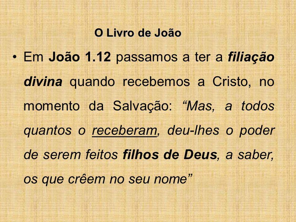 O Livro de João Em João 1.12 passamos a ter a filiação divina quando recebemos a Cristo, no momento da Salvação: Mas, a todos quantos o receberam, deu-lhes o poder de serem feitos filhos de Deus, a saber, os que crêem no seu nome