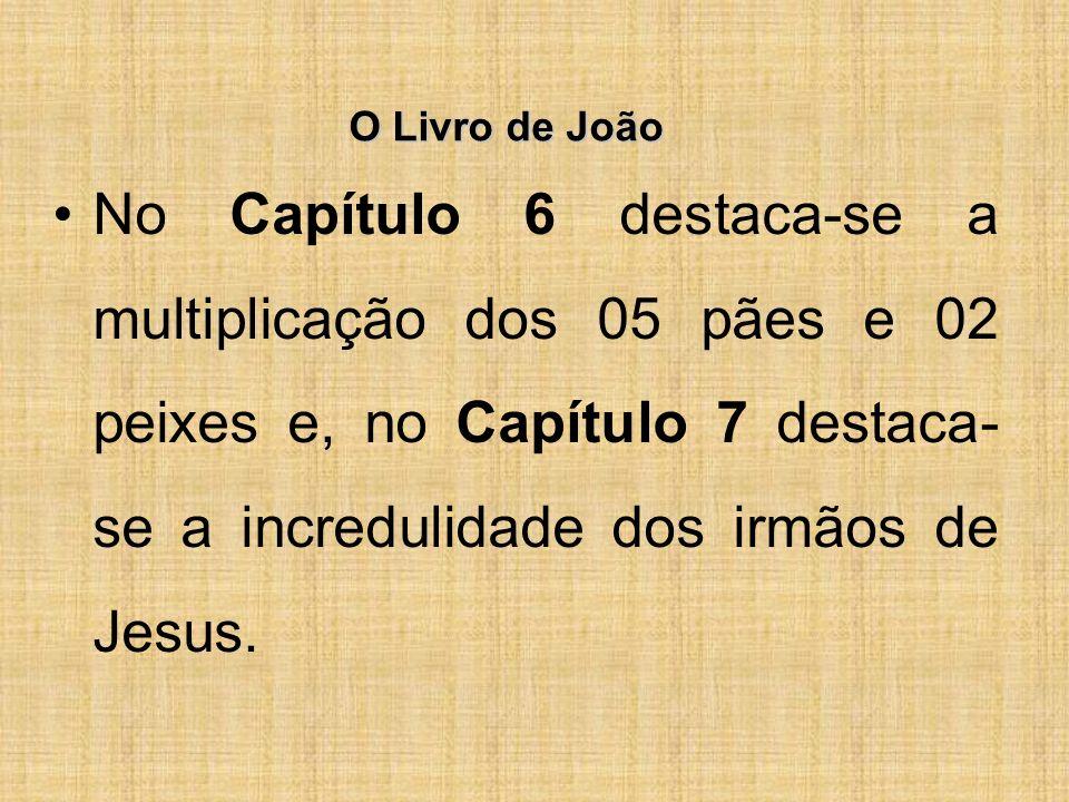 O Livro de João No Capítulo 6 destaca-se a multiplicação dos 05 pães e 02 peixes e, no Capítulo 7 destaca- se a incredulidade dos irmãos de Jesus.