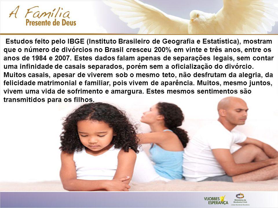 Estudos feito pelo IBGE (Instituto Brasileiro de Geografia e Estatística), mostram que o número de divórcios no Brasil cresceu 200% em vinte e três anos, entre os anos de 1984 e 2007.