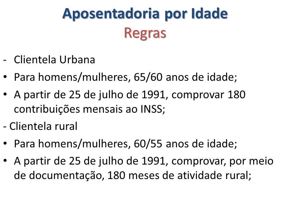 Aposentadoria por Idade Regras -Clientela Urbana Para homens/mulheres, 65/60 anos de idade; A partir de 25 de julho de 1991, comprovar 180 contribuiçõ