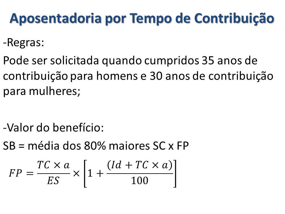 Aposentadoria por Tempo de Contribuição -Regras: Pode ser solicitada quando cumpridos 35 anos de contribuição para homens e 30 anos de contribuição pa
