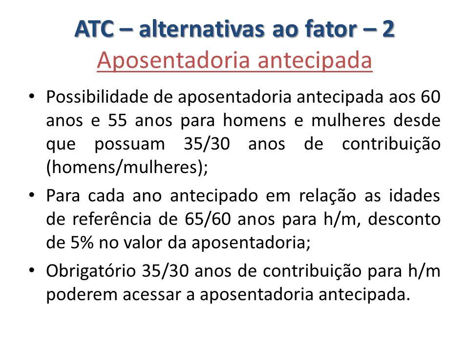 ATC – alternativas ao fator – 2 ATC – alternativas ao fator – 2 Aposentadoria antecipada Possibilidade de aposentadoria antecipada aos 60 anos e 55 an