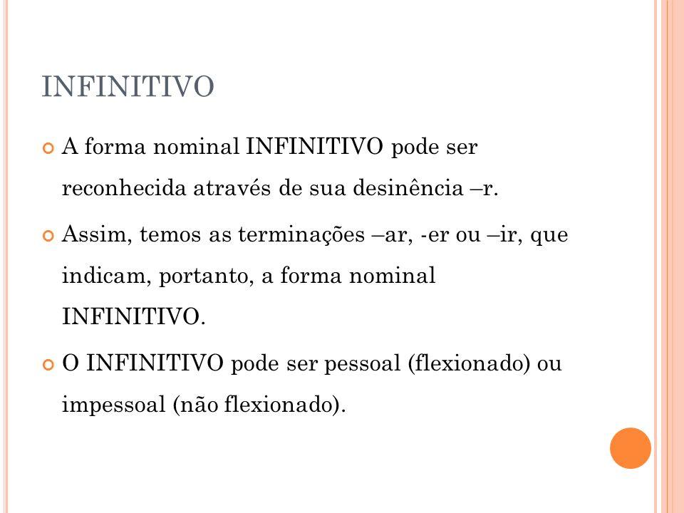 INFINITIVO A forma nominal INFINITIVO pode ser reconhecida através de sua desinência –r. Assim, temos as terminações –ar, -er ou –ir, que indicam, por