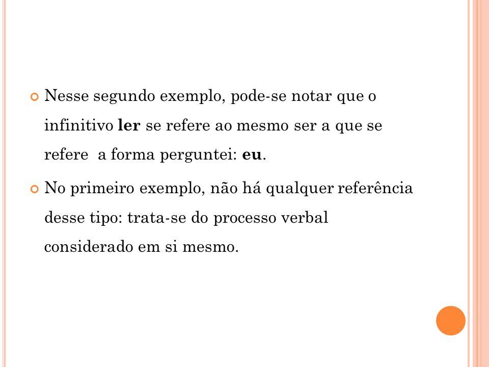 Nesse segundo exemplo, pode-se notar que o infinitivo ler se refere ao mesmo ser a que se refere a forma perguntei: eu.