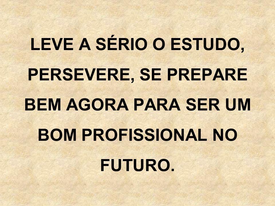 LEVE A SÉRIO O ESTUDO, PERSEVERE, SE PREPARE BEM AGORA PARA SER UM BOM PROFISSIONAL NO FUTURO.