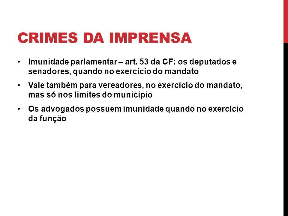 CRIMES DA IMPRENSA Imunidade parlamentar – art. 53 da CF: os deputados e senadores, quando no exercício do mandato Vale também para vereadores, no exe