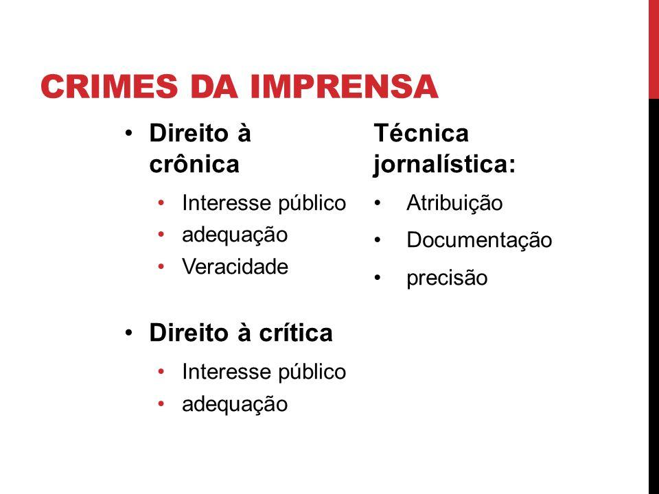 CRIMES DA IMPRENSA Direito à crônica Interesse público adequação Veracidade Direito à crítica Interesse público adequação Técnica jornalística: Atribu