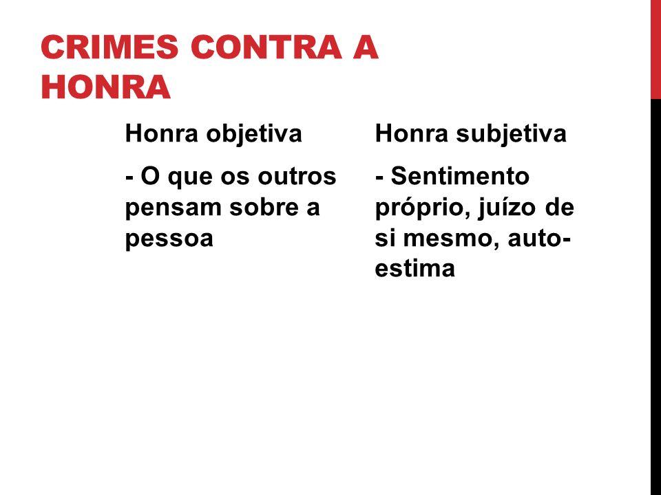 CRIMES CONTRA A HONRA Honra objetiva - O que os outros pensam sobre a pessoa Honra subjetiva - Sentimento próprio, juízo de si mesmo, auto- estima