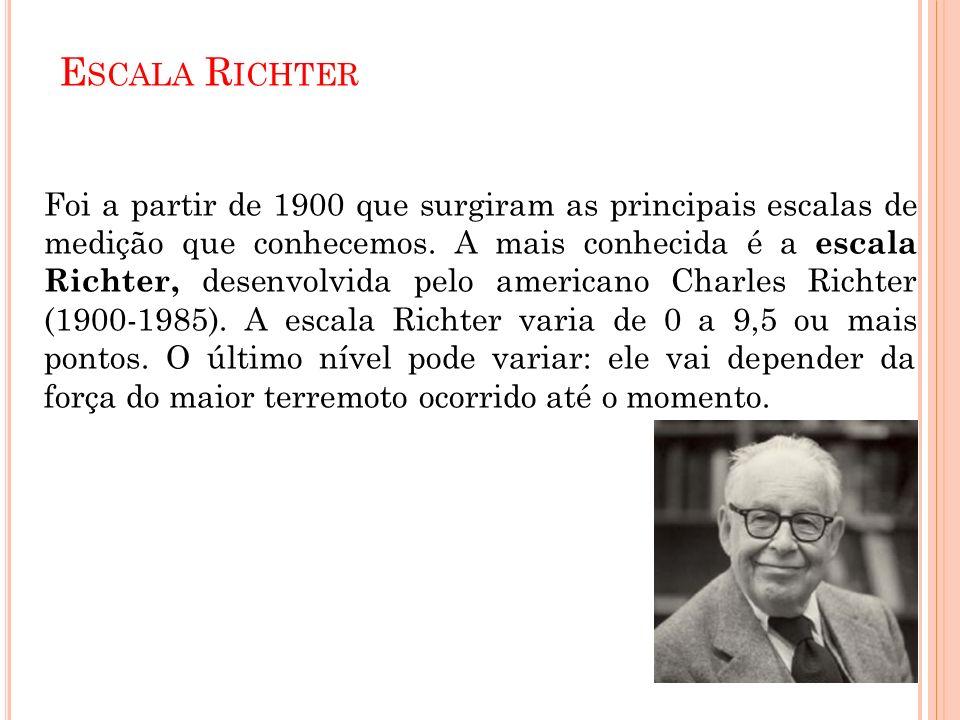 E SCALA R ICHTER Foi a partir de 1900 que surgiram as principais escalas de medição que conhecemos. A mais conhecida é a escala Richter, desenvolvida