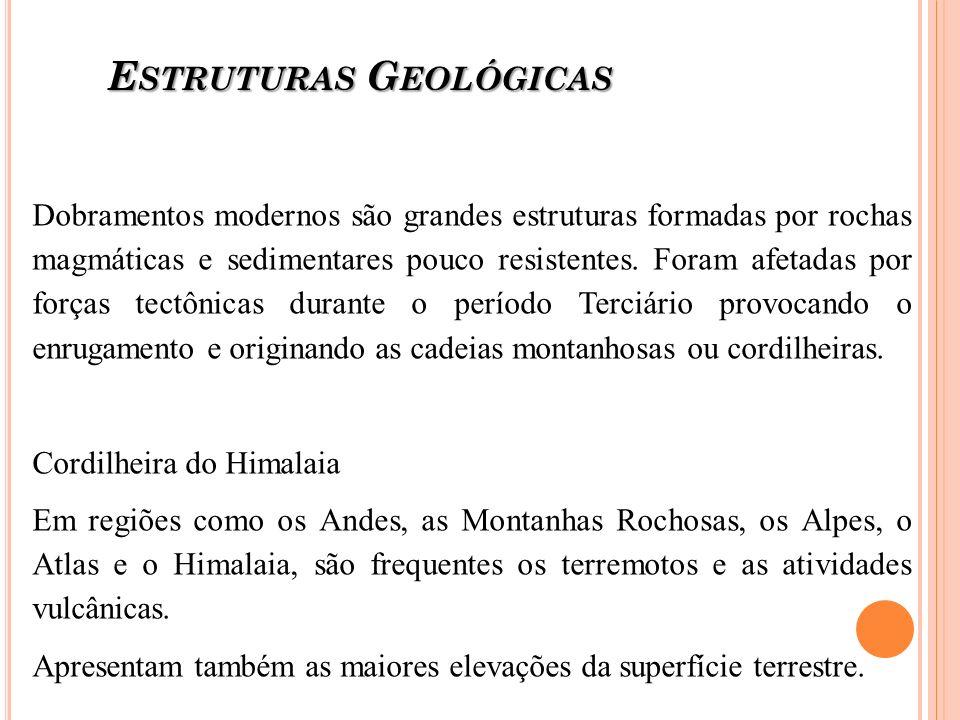 E STRUTURAS G EOLÓGICAS Dobramentos modernos são grandes estruturas formadas por rochas magmáticas e sedimentares pouco resistentes. Foram afetadas po