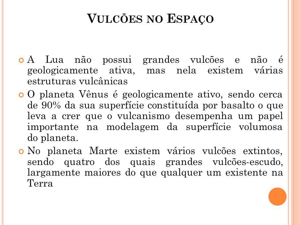 V ULCÕES NO E SPAÇO A Lua não possui grandes vulcões e não é geologicamente ativa, mas nela existem várias estruturas vulcânicas O planeta Vênus é geo