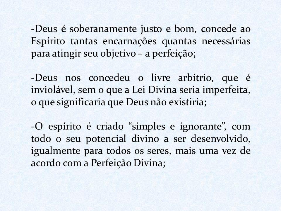-Deus é soberanamente justo e bom, concede ao Espírito tantas encarnações quantas necessárias para atingir seu objetivo – a perfeição; -Deus nos conce