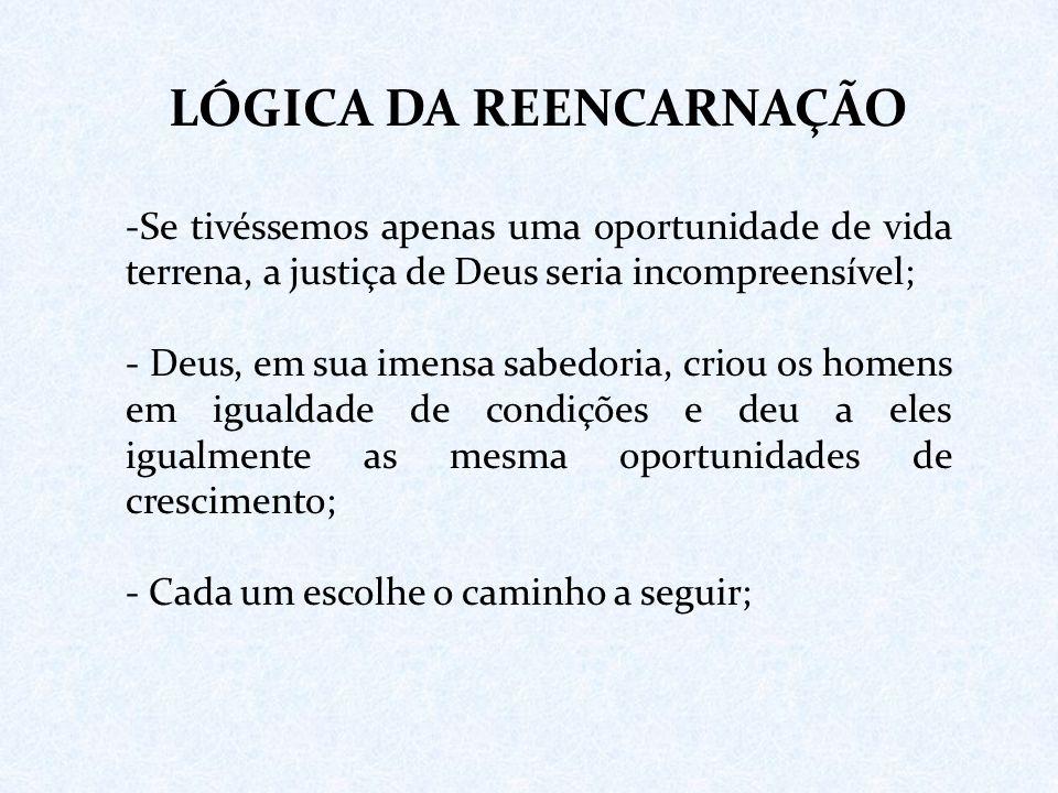 LÓGICA DA REENCARNAÇÃO -Se tivéssemos apenas uma oportunidade de vida terrena, a justiça de Deus seria incompreensível; - Deus, em sua imensa sabedori