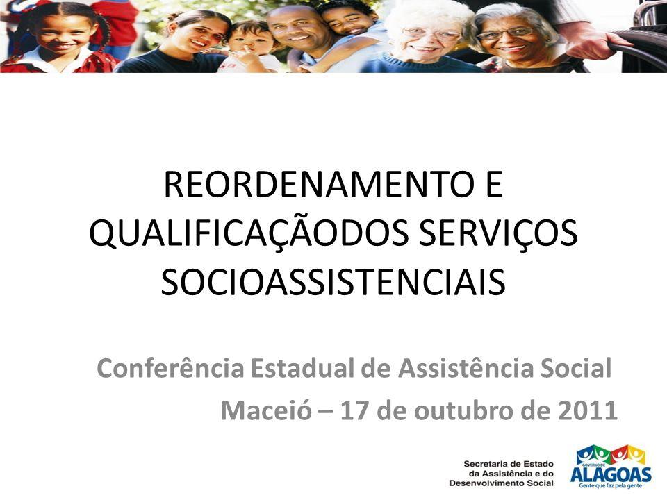 REORDENAMENTO E QUALIFICAÇÃODOS SERVIÇOS SOCIOASSISTENCIAIS Conferência Estadual de Assistência Social Maceió – 17 de outubro de 2011